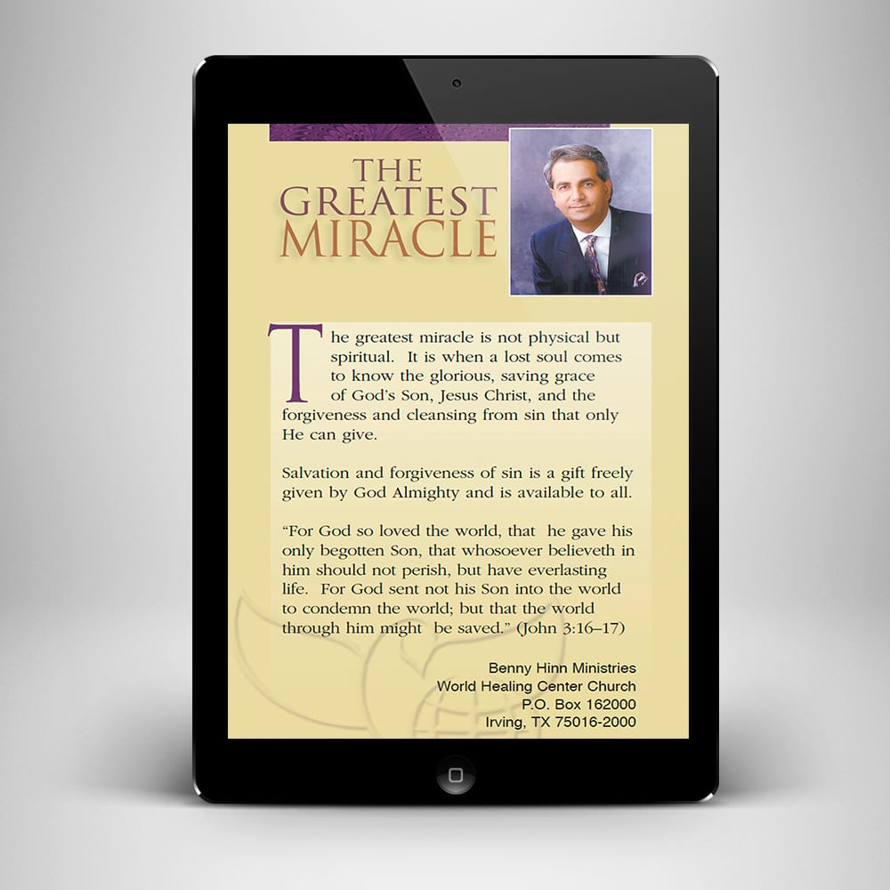 The Greatest Miracle eBook - back cover - Benny Hinn Ministries